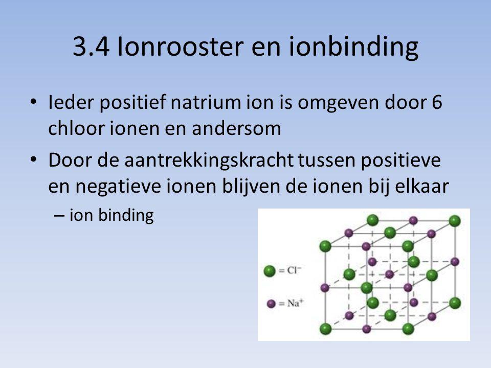 3.4 Ionrooster en ionbinding Ieder positief natrium ion is omgeven door 6 chloor ionen en andersom Door de aantrekkingskracht tussen positieve en nega