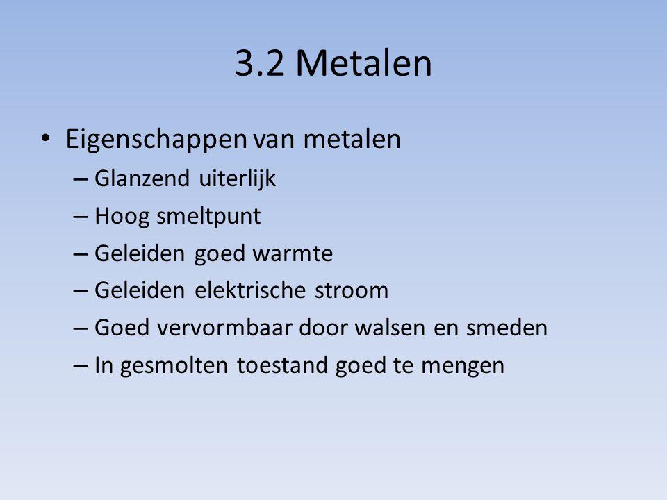 3.2 Metalen Eigenschappen van metalen – Glanzend uiterlijk – Hoog smeltpunt – Geleiden goed warmte – Geleiden elektrische stroom – Goed vervormbaar do