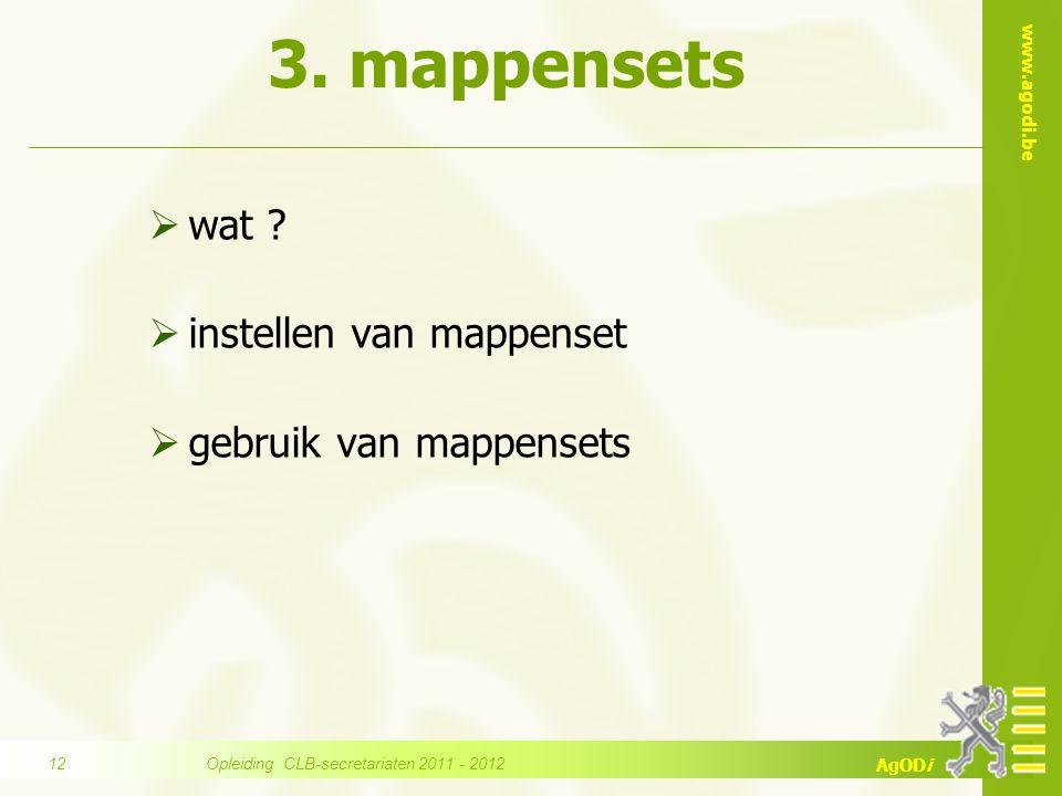 www.agodi.be AgODi 3. mappensets  wat ?  instellen van mappenset  gebruik van mappensets Opleiding CLB-secretariaten 2011 - 2012 12