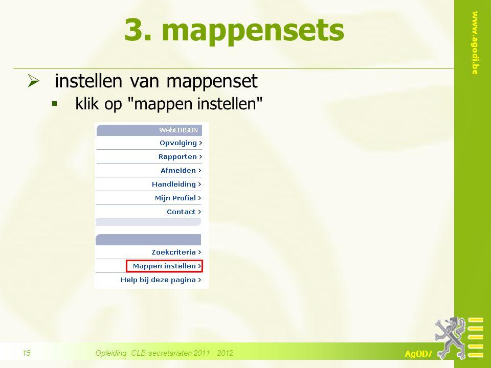 www.agodi.be AgODi 3. mappensets  instellen van mappenset  klik op