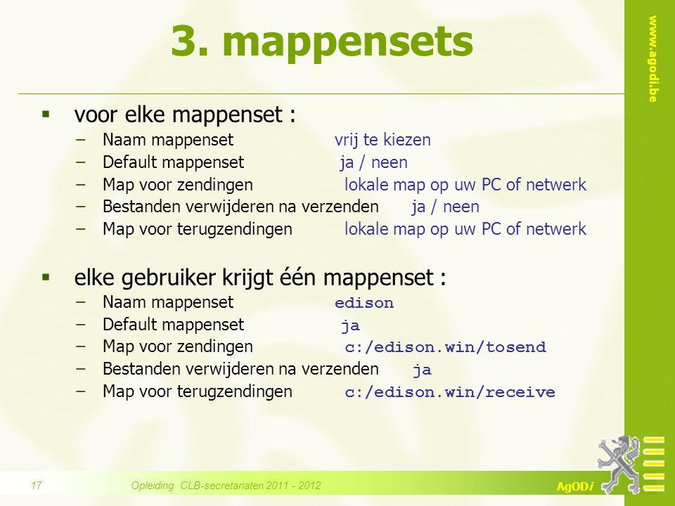 www.agodi.be AgODi 3. mappensets  voor elke mappenset : −Naam mappenset vrij te kiezen −Default mappenset ja / neen −Map voor zendingen lokale map op