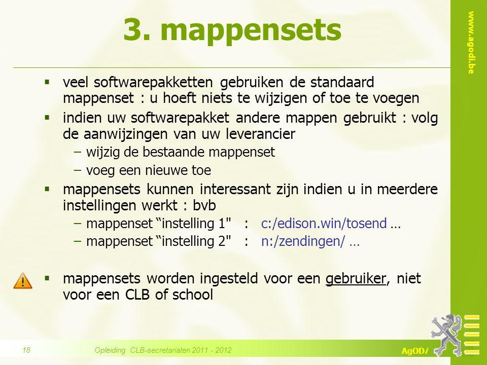 www.agodi.be AgODi 3. mappensets  veel softwarepakketten gebruiken de standaard mappenset : u hoeft niets te wijzigen of toe te voegen  indien uw so