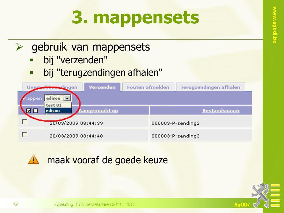 www.agodi.be AgODi 3. mappensets  gebruik van mappensets  bij