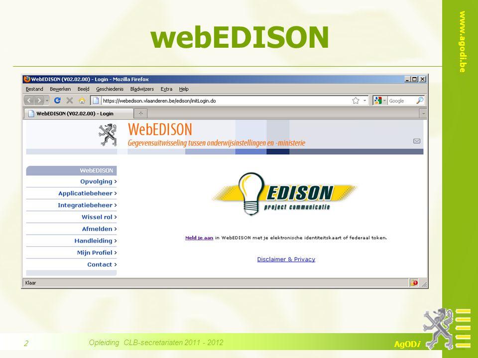 www.agodi.be AgODi Overzicht programma webEDISON : 1.situering webEDISON 2.toegangsrechten 3.mappensets 4.zoekcriteria 5.veel voorkomende vragen 6.help .