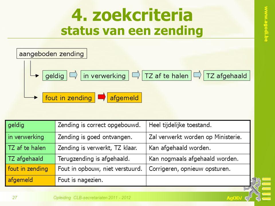 www.agodi.be AgODi 4. zoekcriteria status van een zending geldigZending is correct opgebouwd.Heel tijdelijke toestand. in verwerkingZending is goed on