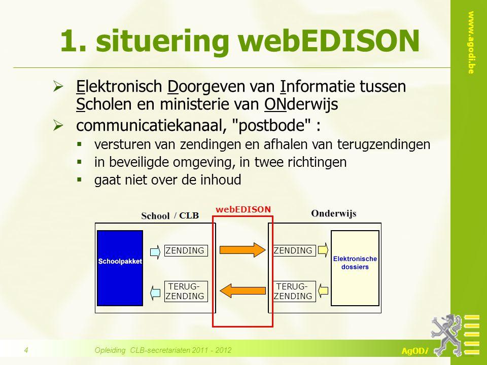 www.agodi.be AgODi  Elektronisch Doorgeven van Informatie tussen Scholen en ministerie van ONderwijs  communicatiekanaal,