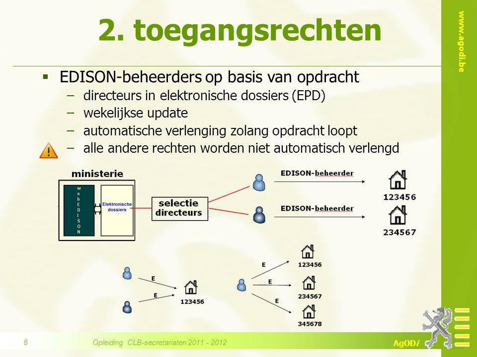 www.agodi.be AgODi  EDISON-beheerders op basis van opdracht −directeurs in elektronische dossiers (EPD) −wekelijkse update −automatische verlenging z