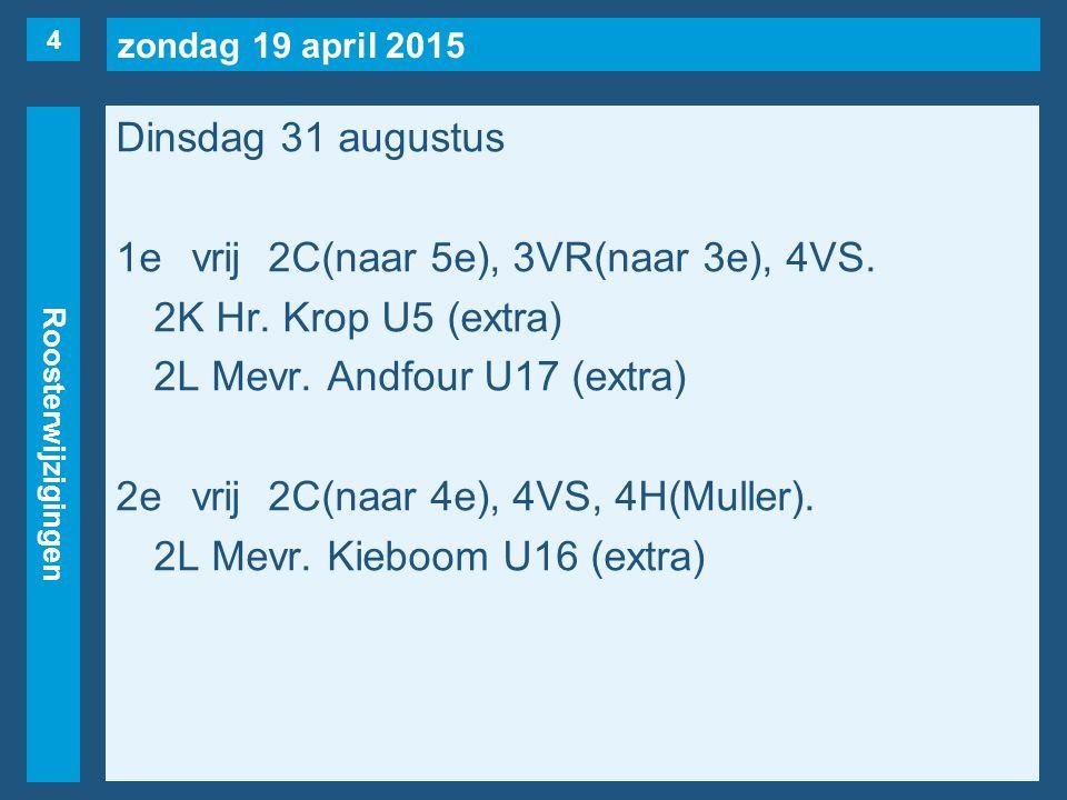 zondag 19 april 2015 Roosterwijzigingen Dinsdag 31 augustus 1evrij2C(naar 5e), 3VR(naar 3e), 4VS.