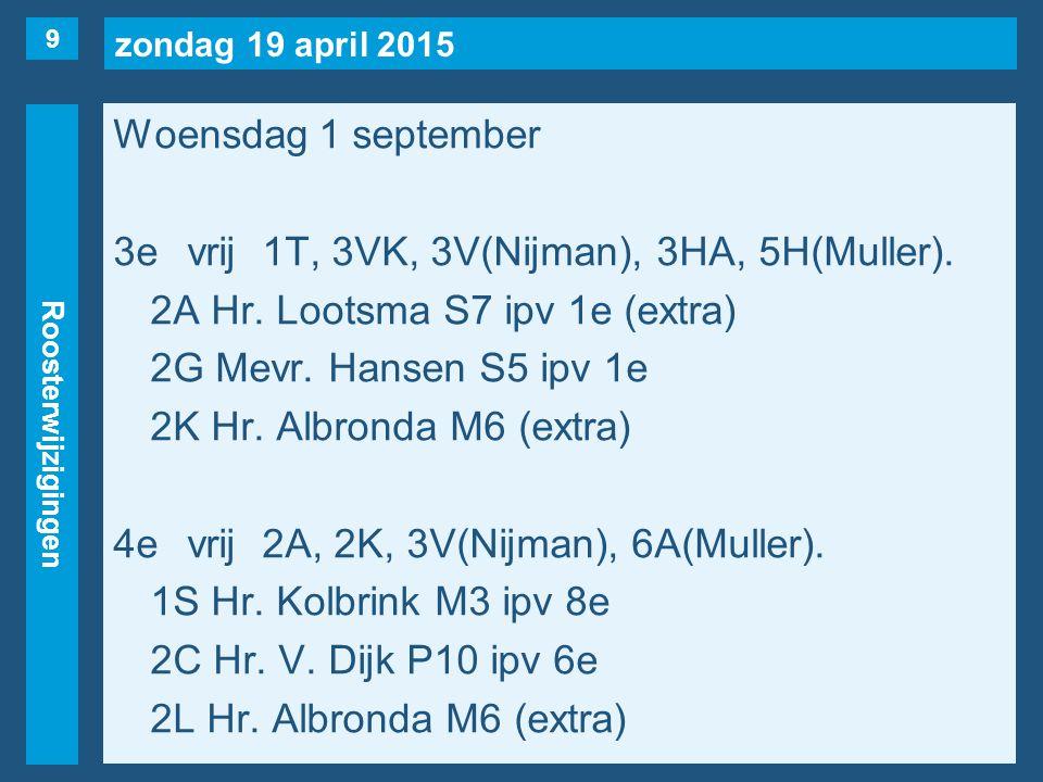 zondag 19 april 2015 Roosterwijzigingen Woensdag 1 september 3evrij1T, 3VK, 3V(Nijman), 3HA, 5H(Muller).