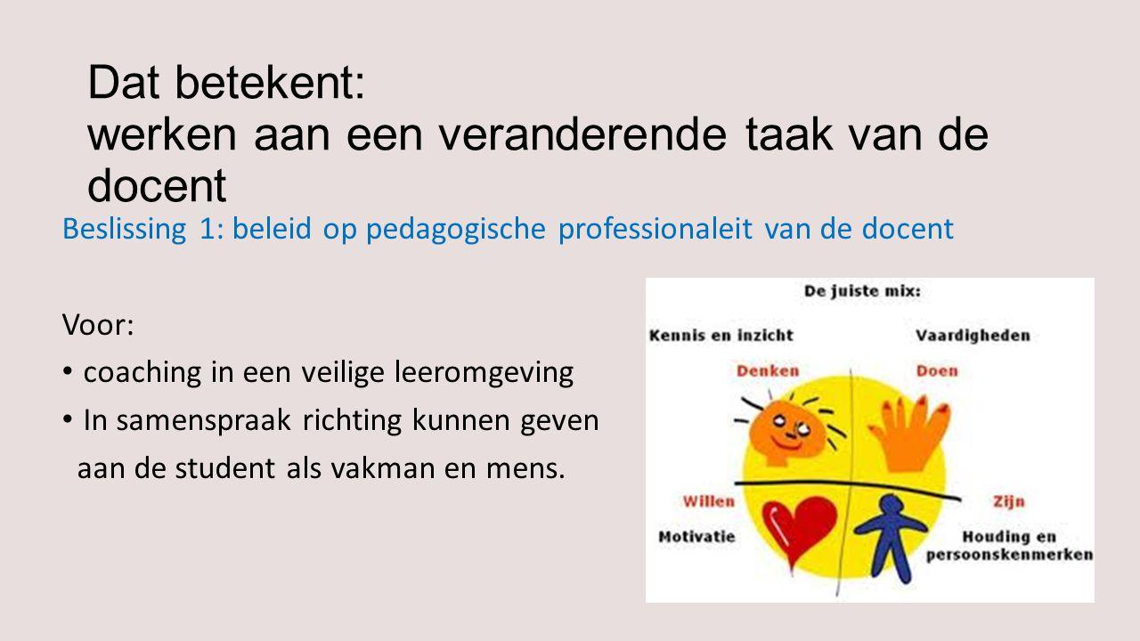 Dat betekent: werken aan een veranderende taak van de docent Beslissing 1: beleid op pedagogische professionaleit van de docent Voor: coaching in een