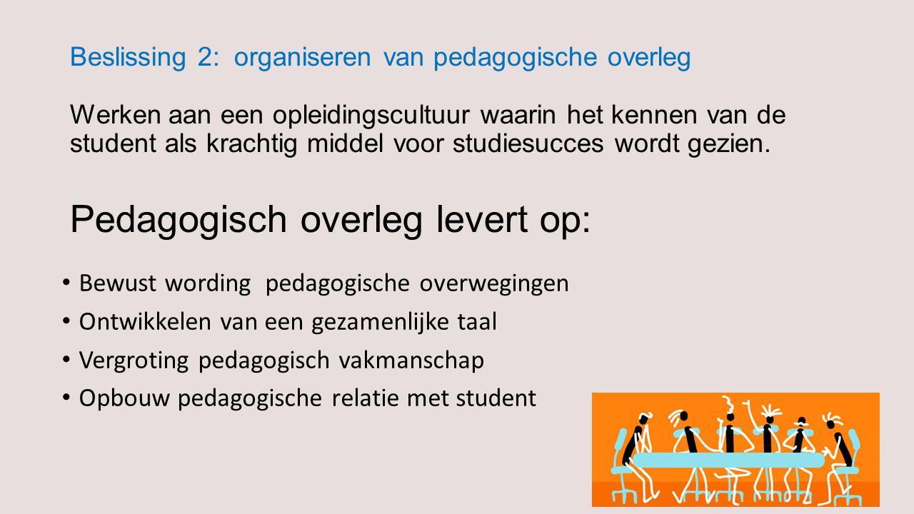 Beslissing 2: organiseren van pedagogische overleg Werken aan een opleidingscultuur waarin het kennen van de student als krachtig middel voor studiesucces wordt gezien.