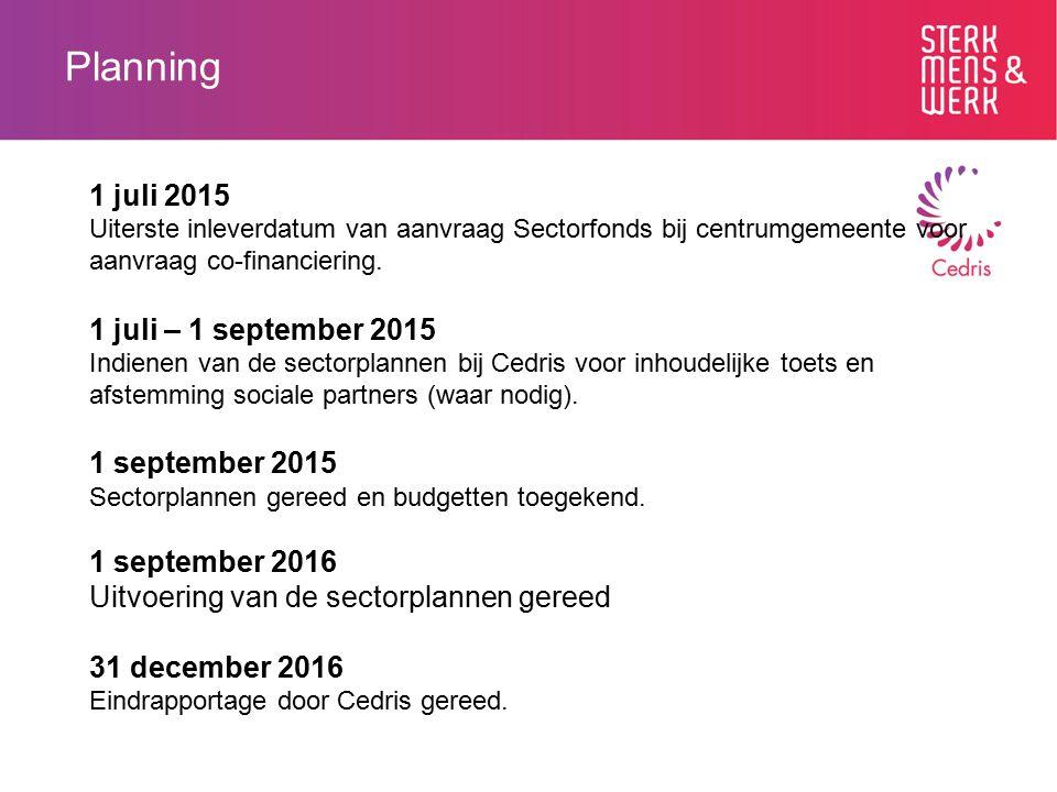 Planning 1 juli 2015 Uiterste inleverdatum van aanvraag Sectorfonds bij centrumgemeente voor aanvraag co-financiering. 1 juli – 1 september 2015 Indie