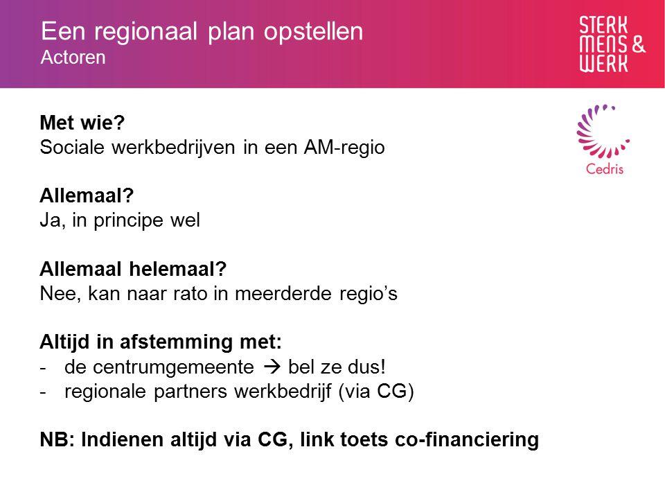 Een regionaal plan opstellen Actoren Met wie? Sociale werkbedrijven in een AM-regio Allemaal? Ja, in principe wel Allemaal helemaal? Nee, kan naar rat