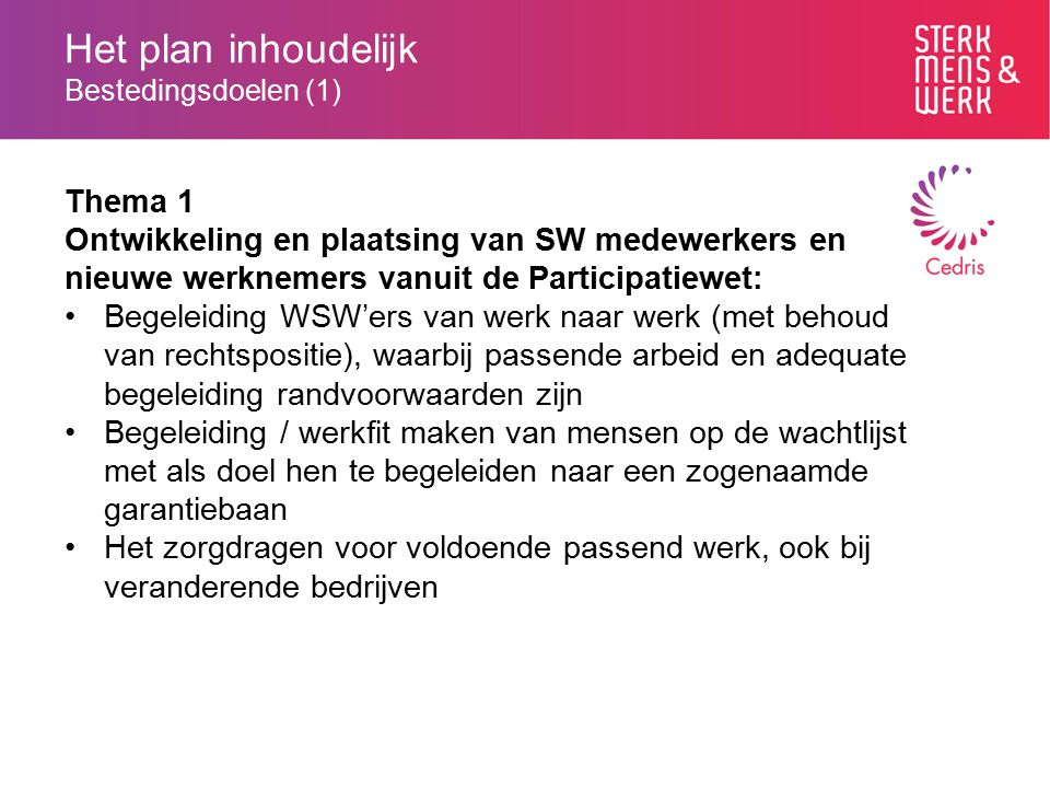 Het plan inhoudelijk Bestedingsdoelen (1) Thema 1 Ontwikkeling en plaatsing van SW medewerkers en nieuwe werknemers vanuit de Participatiewet: Begelei