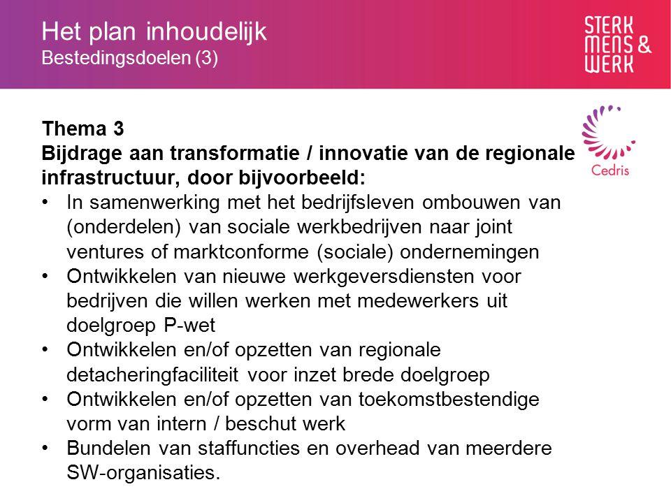 Het plan inhoudelijk Bestedingsdoelen (3) Thema 3 Bijdrage aan transformatie / innovatie van de regionale infrastructuur, door bijvoorbeeld: In samenw
