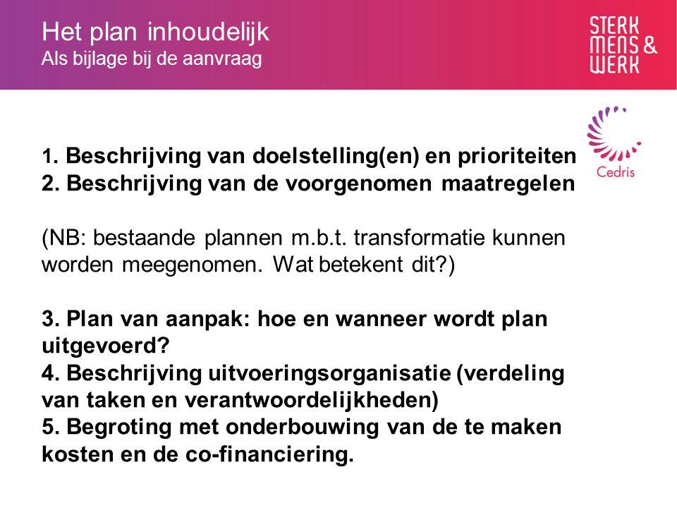 Het plan inhoudelijk Als bijlage bij de aanvraag 1. Beschrijving van doelstelling(en) en prioriteiten 2. Beschrijving van de voorgenomen maatregelen (