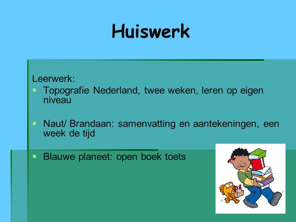 Huiswerk Leerwerk:   Topografie Nederland, twee weken, leren op eigen niveau   Naut/ Brandaan: samenvatting en aantekeningen, een week de tijd  