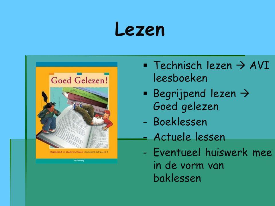 Lezen   Technisch lezen  AVI leesboeken   Begrijpend lezen  Goed gelezen - -Boeklessen - -Actuele lessen - -Eventueel huiswerk mee in de vorm va