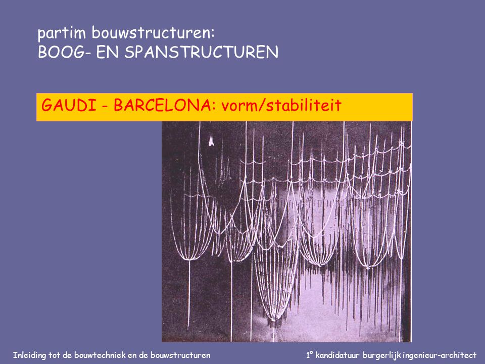 Inleiding tot de bouwtechniek en de bouwstructuren1° kandidatuur burgerlijk ingenieur-architect partim bouwstructuren: BOOG- EN SPANSTRUCTUREN GAUDI -
