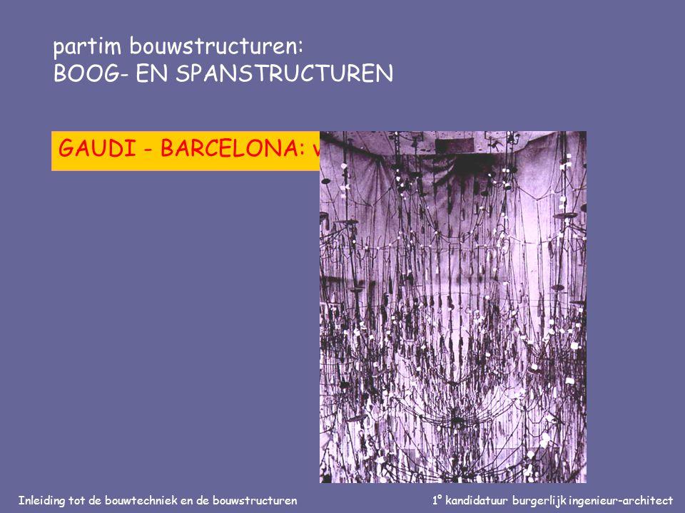 Inleiding tot de bouwtechniek en de bouwstructuren1° kandidatuur burgerlijk ingenieur-architect partim bouwstructuren: BOOG- EN SPANSTRUCTUREN GAUDI - BARCELONA: vorm/stabiliteit