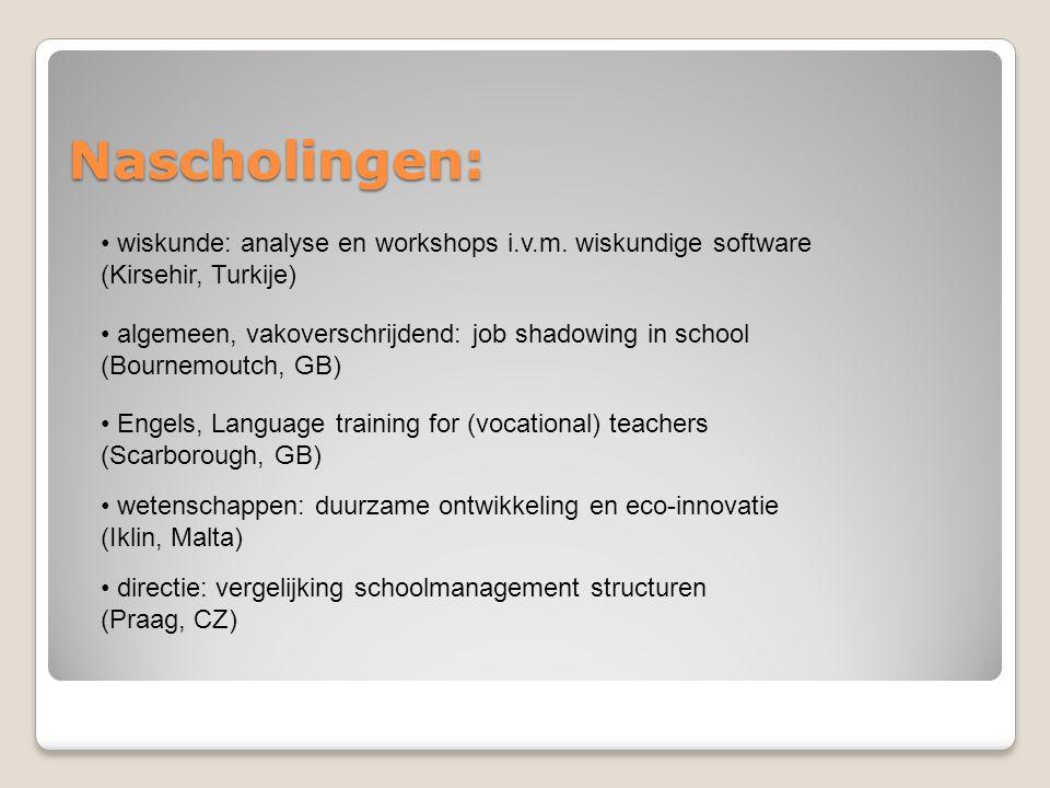 Nascholingen: wiskunde: analyse en workshops i.v.m. wiskundige software (Kirsehir, Turkije) algemeen, vakoverschrijdend: job shadowing in school (Bour