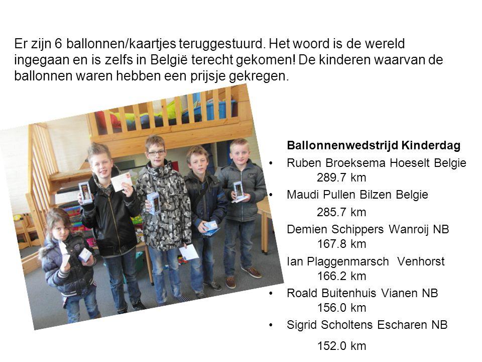 Ballonnenwedstrijd Kinderdag Ruben Broeksema Hoeselt Belgie 289.7 km Maudi Pullen Bilzen Belgie 285.7 km Demien Schippers Wanroij NB 167.8 km Ian Plaggenmarsch Venhorst 166.2 km Roald Buitenhuis Vianen NB 156.0 km Sigrid Scholtens Escharen NB 152.0 km Er zijn 6 ballonnen/kaartjes teruggestuurd.