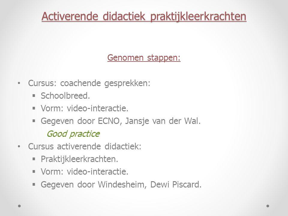 Activerende didactiek praktijkleerkrachten Genomen stappen: Cursus: coachende gesprekken:  Schoolbreed.