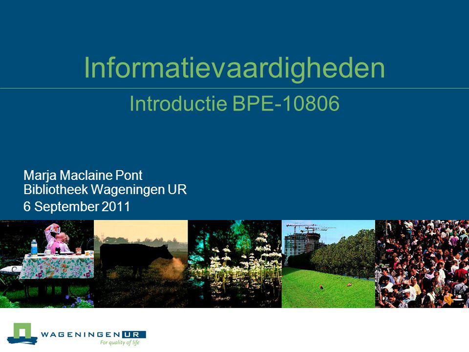 Informatievaardigheden Werken met Blackboard De cursus is te vinden op http://edu6.wur.nl/, daar inloggen met WUR inlognaam en password, kiezen voor de cursus ECS52901_2011_0http://edu6.wur.nl/ Ook te vinden op: http://library.wur.nl/desktop/services/infolit, maar dan zonder de quizzeshttp://library.wur.nl/desktop/services/infolit Hoe ziet de cursus er globaal uit.