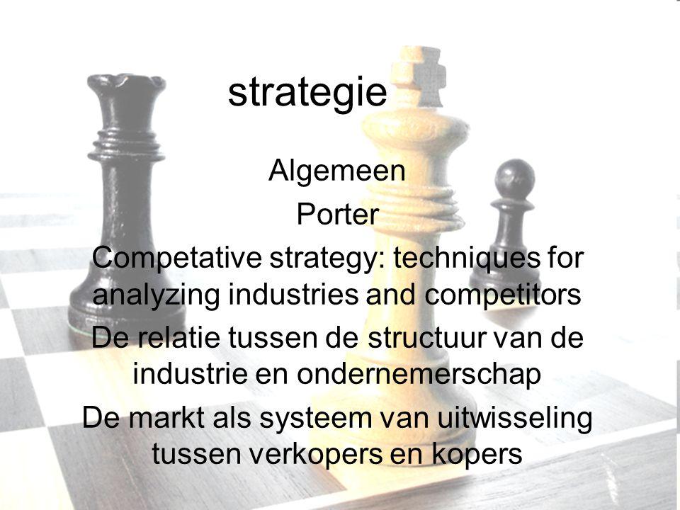 strategie Algemeen Porter Competative strategy: techniques for analyzing industries and competitors De relatie tussen de structuur van de industrie en ondernemerschap De markt als systeem van uitwisseling tussen verkopers en kopers