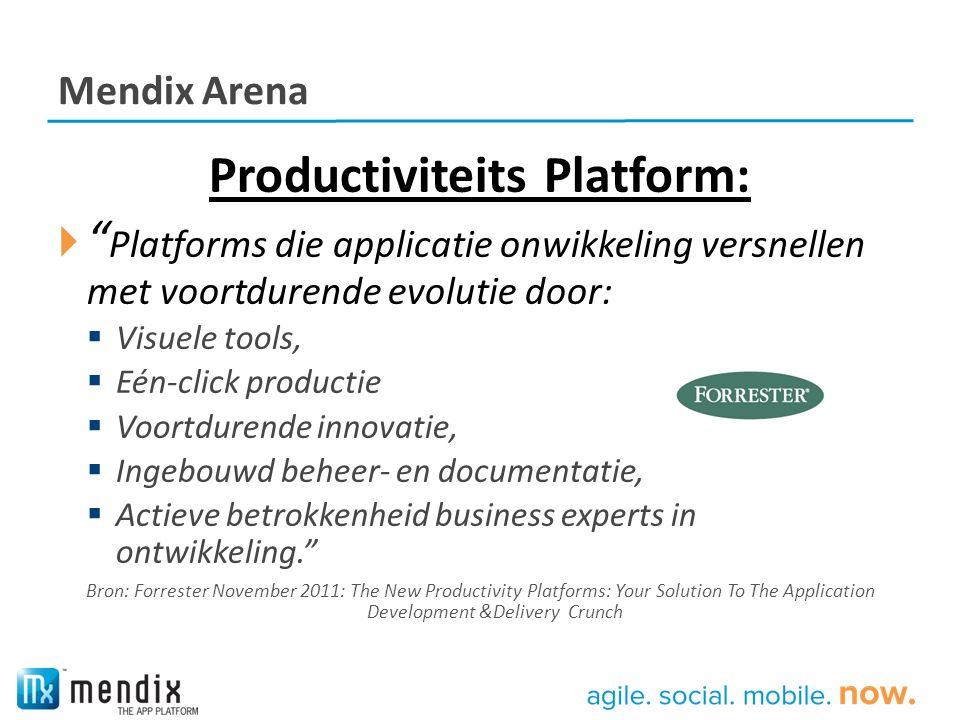 """Mendix Arena Productiviteits Platform:  """" Platforms die applicatie onwikkeling versnellen met voortdurende evolutie door:  Visuele tools,  Eén-clic"""