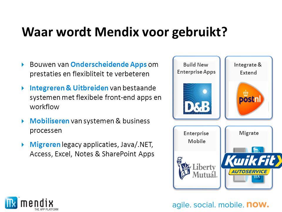 Enterprise Mobile Waar wordt Mendix voor gebruikt?  Bouwen van Onderscheidende Apps om prestaties en flexibliteit te verbeteren  Integreren & Uitbre