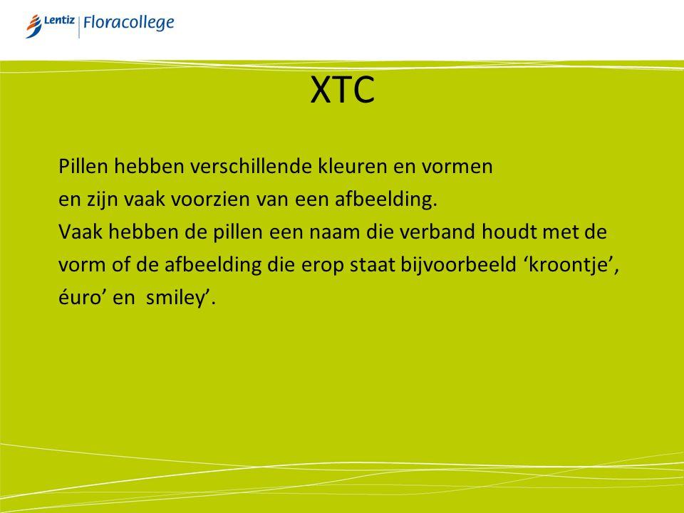 XTC MDMA: Methyleendioxymethamfetamine Status: Illegaal Manier van gebruiken: Pillen Globaal effect: Stimulerend Waarnemingen veranderen