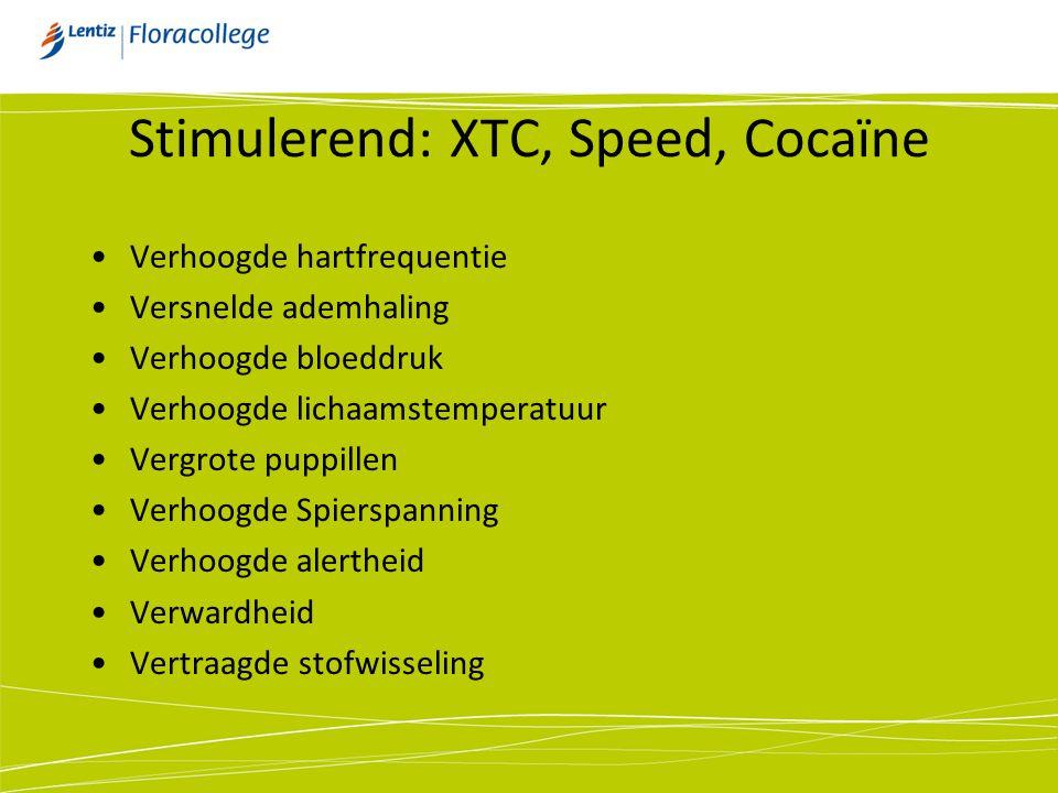 Cocaïne Gewenste effecten: Afname moeheidgevoel Toename zelfvertrouwen Gedragskenmerken: Gejaagd, geagiteerd Hard voor zichzelf Achterdochtig Effectieve werkingsduur: 30 – 45 minuten
