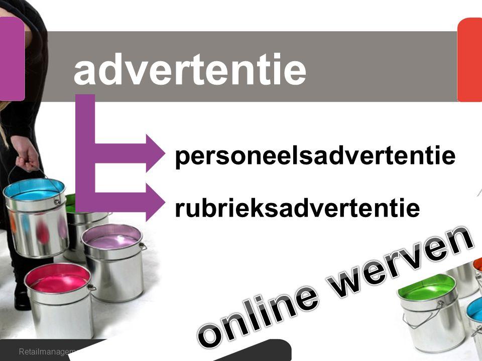 advertentie Retailmanagement hoofdstuk 6, paragraaf 6.4 personeelsadvertentie rubrieksadvertentie