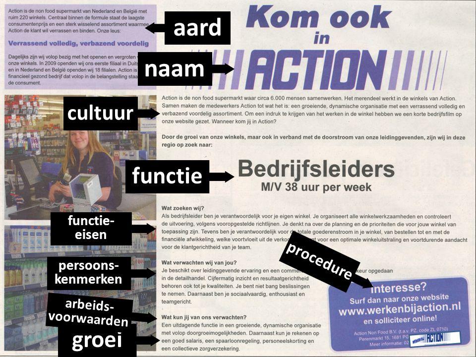 naam aard cultuur functie functie- eisen persoons- kenmerken groei arbeids- voorwaarden procedure