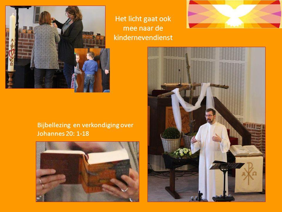 Het licht gaat ook mee naar de kindernevendienst Bijbellezing en verkondiging over Johannes 20: 1-18