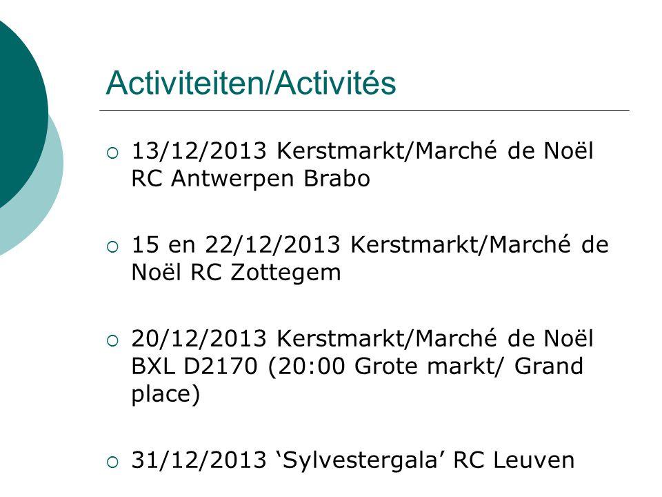Activiteiten/Activités  13/12/2013 Kerstmarkt/Marché de Noël RC Antwerpen Brabo  15 en 22/12/2013 Kerstmarkt/Marché de Noël RC Zottegem  20/12/2013