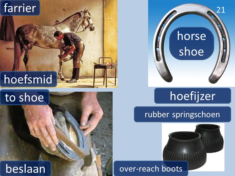hoefsmid farrier 21 beslaan to shoe hoefijzer horse shoe rubber springschoen over-reach boots