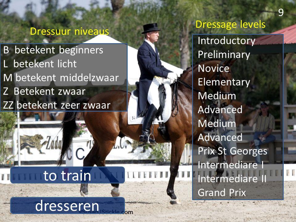 dresseren to train 9 B betekent beginners L betekent licht M betekent middelzwaar Z Betekent zwaar ZZ betekent zeer zwaar Introductory Preliminary Nov