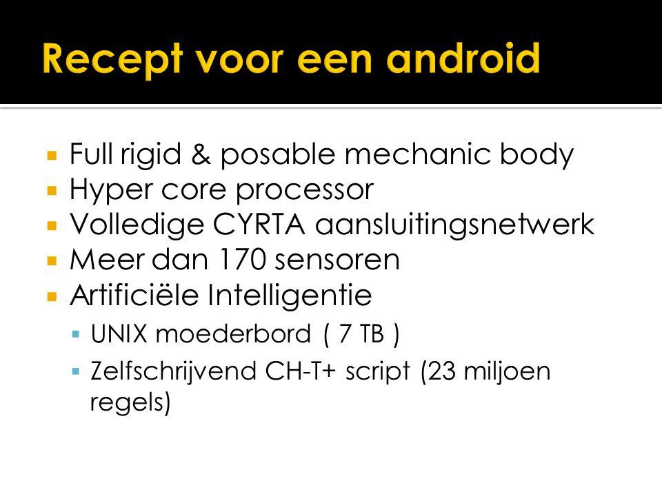  Full rigid & posable mechanic body  Hyper core processor  Volledige CYRTA aansluitingsnetwerk  Meer dan 170 sensoren  Artificiële Intelligentie  UNIX moederbord ( 7 TB )  Zelfschrijvend CH-T+ script (23 miljoen regels)