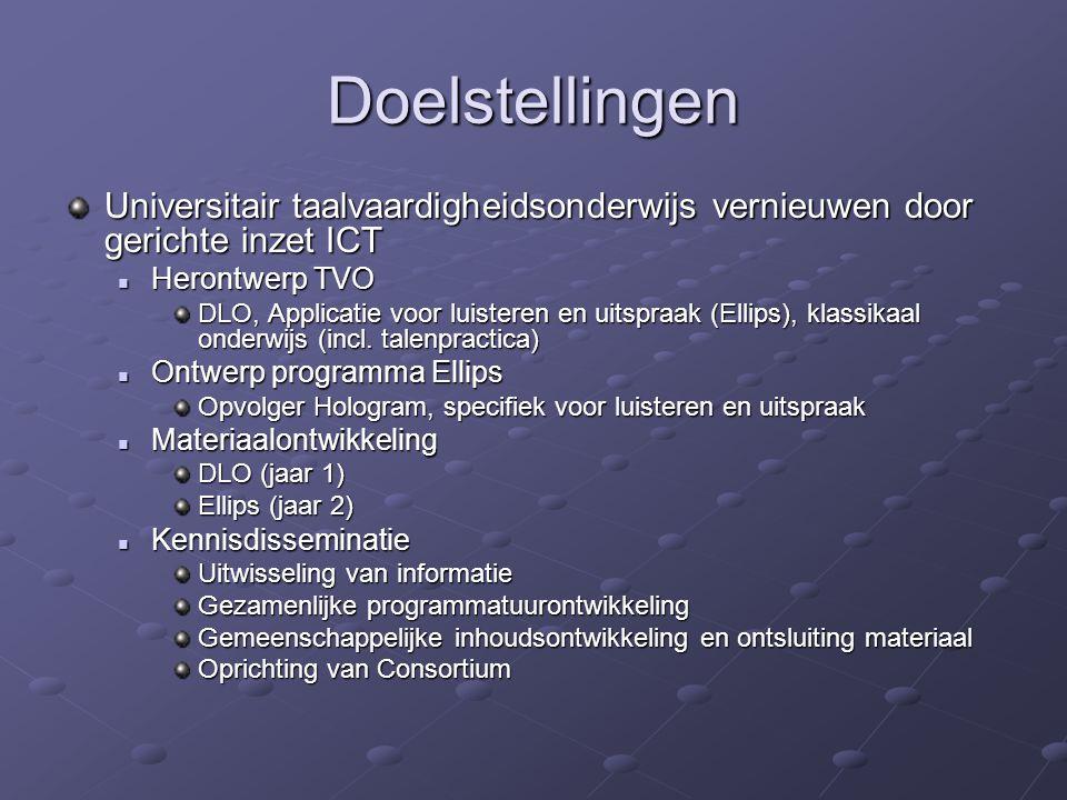 Doelstellingen Universitair taalvaardigheidsonderwijs vernieuwen door gerichte inzet ICT Herontwerp TVO Herontwerp TVO DLO, Applicatie voor luisteren en uitspraak (Ellips), klassikaal onderwijs (incl.