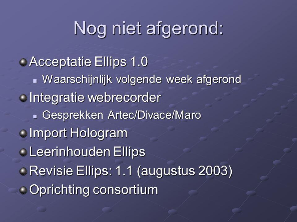 Nog niet afgerond: Acceptatie Ellips 1.0 Waarschijnlijk volgende week afgerond Waarschijnlijk volgende week afgerond Integratie webrecorder Gesprekken Artec/Divace/Maro Gesprekken Artec/Divace/Maro Import Hologram Leerinhouden Ellips Revisie Ellips: 1.1 (augustus 2003) Oprichting consortium