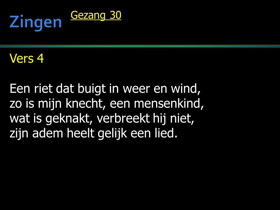 Vers 4 Een riet dat buigt in weer en wind, zo is mijn knecht, een mensenkind, wat is geknakt, verbreekt hij niet, zijn adem heelt gelijk een lied. Gez