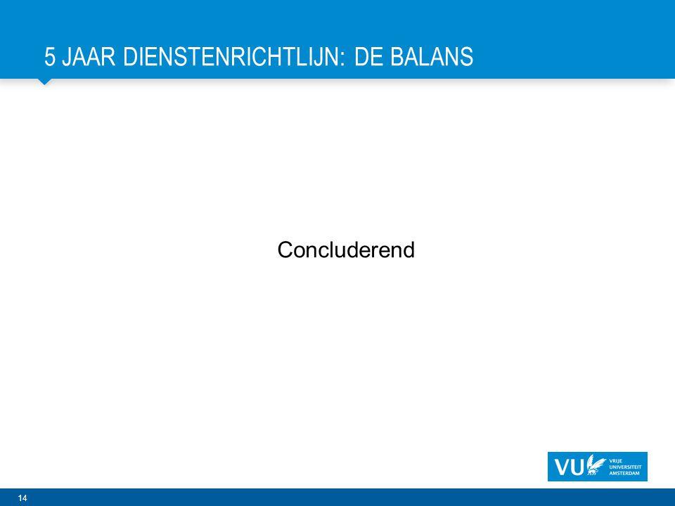 14 5 JAAR DIENSTENRICHTLIJN: DE BALANS Concluderend