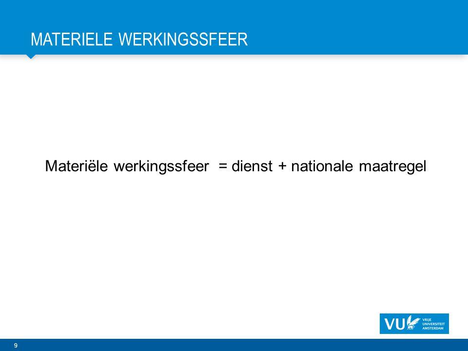 9 MATERIELE WERKINGSSFEER Materiële werkingssfeer = dienst + nationale maatregel