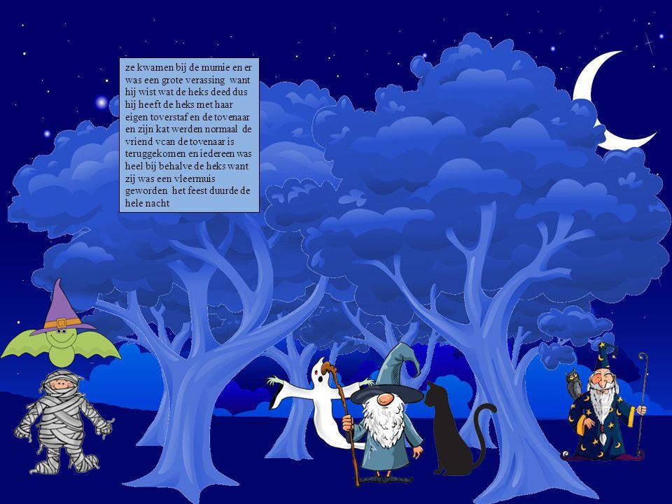 ze kwamen bij de mumie en er was een grote verassing want hij wist wat de heks deed dus hij heeft de heks met haar eigen toverstaf en de tovenaar en zijn kat werden normaal de vriend vcan de tovenaar is teruggekomen en iedereen was heel bij behalve de heks want zij was een vleermuis geworden het feest duurde de hele nacht Kies je personages en sleep ze op de prent.