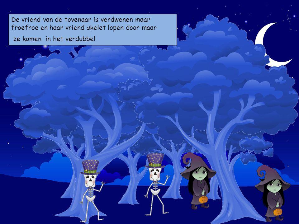 De vriend van de tovenaar is verdwenen maar froefroe en haar vriend skelet lopen door maar ze komen in het verdubbel Kies je personages en sleep ze op de prent.