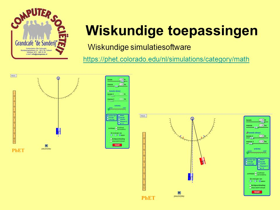 Wiskundige toepassingen Wiskundige simulatiesoftware https://phet.colorado.edu/nl/simulations/category/math