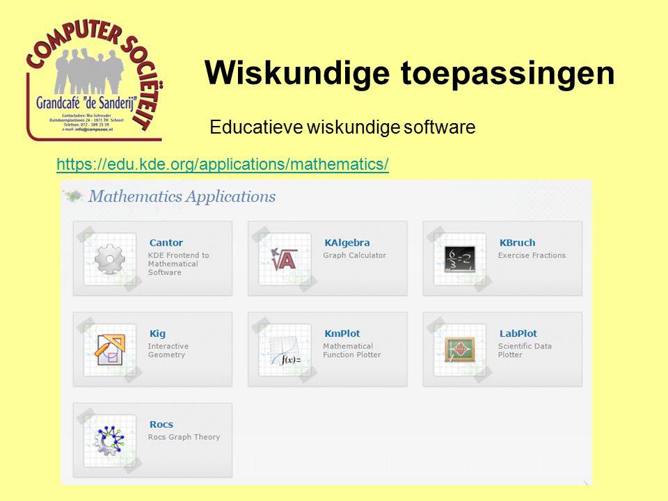 Wiskundige toepassingen Computer Art (Fractals) http://en.wikipedia.org/wiki/Fractal_art