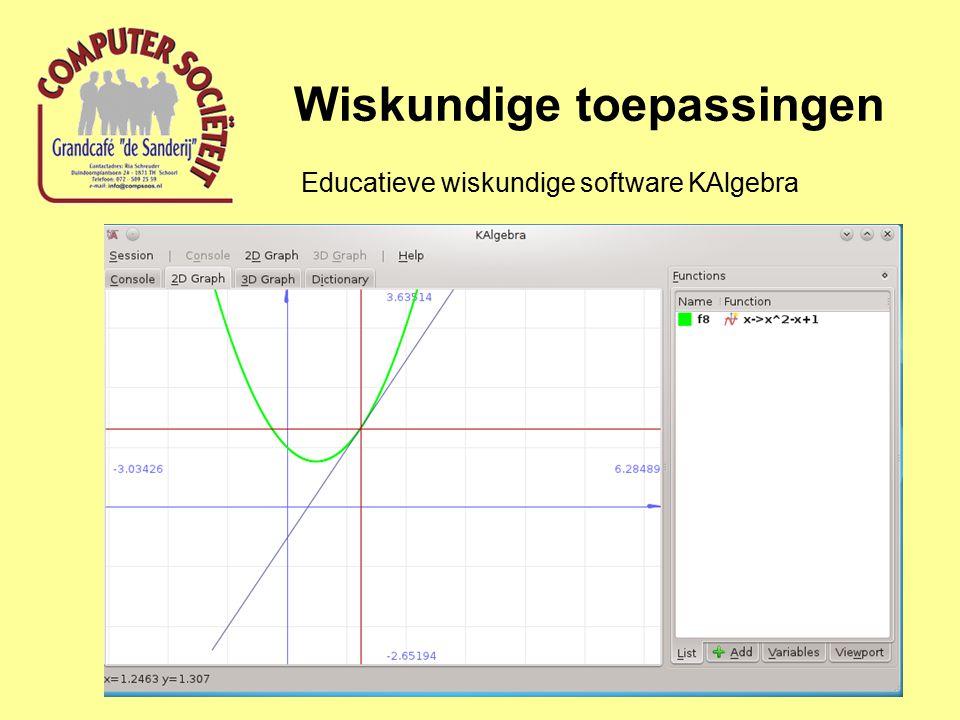 Wiskundige toepassingen Educatieve wiskundige software http://www.qtiplot.com/